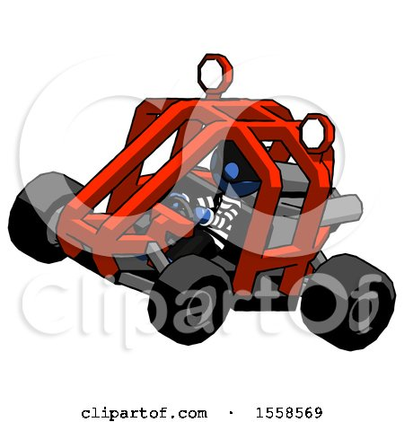 Blue Thief Man Riding Sports Buggy Side Top Angle View by Leo Blanchette