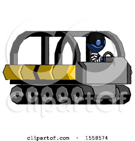 Blue Thief Man Driving Amphibious Tracked Vehicle Side Angle View by Leo Blanchette