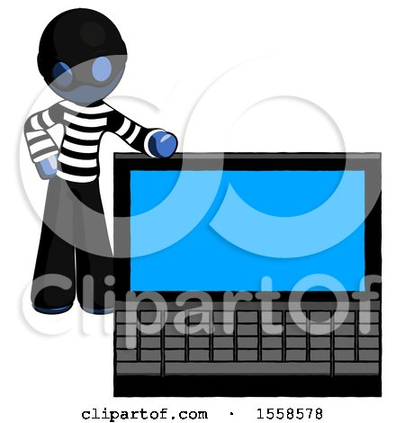 Blue Thief Man Beside Large Laptop Computer, Leaning Against It by Leo Blanchette