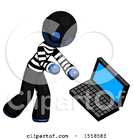 Blue Thief Man Throwing Laptop Computer in Frustration by Leo Blanchette