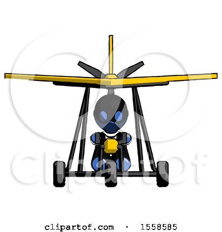 Blue Thief Man in Ultralight Aircraft Front View by Leo Blanchette