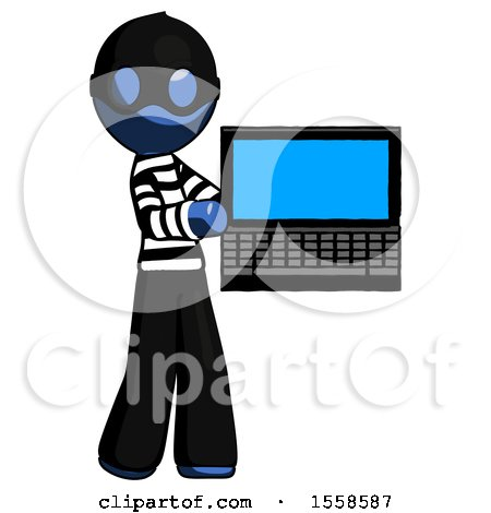 Blue Thief Man Holding Laptop Computer Presenting Something on Screen by Leo Blanchette