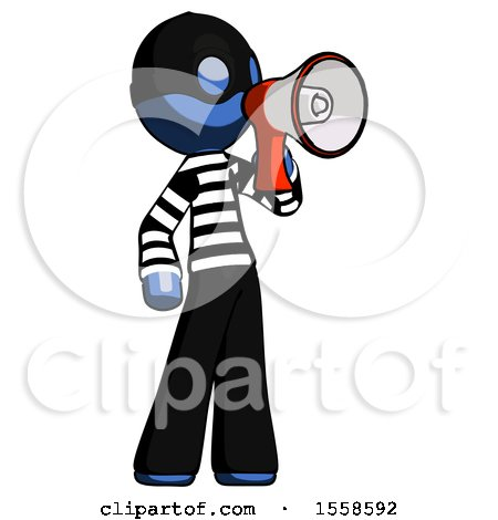 Blue Thief Man Shouting into Megaphone Bullhorn Facing Right by Leo Blanchette