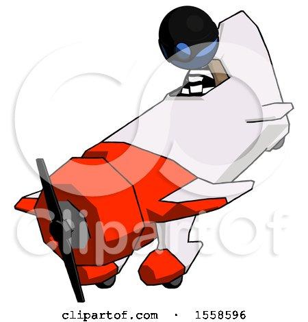 Blue Thief Man in Geebee Stunt Plane Descending View by Leo Blanchette