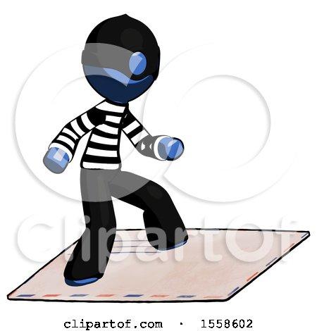 Blue Thief Man on Postage Envelope Surfing by Leo Blanchette