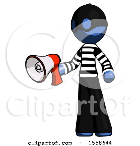 Blue Thief Man Holding Megaphone Bullhorn Facing Right by Leo Blanchette