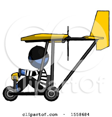 Blue Thief Man in Ultralight Aircraft Side View by Leo Blanchette