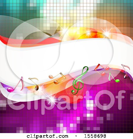Clipart of a Background of Music Notes and Waves over Pixels - Royalty Free Vector Illustration by merlinul