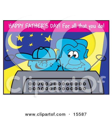 Happy Boy Watching Tv With His Dad On Fathers Day Clipart Illustration by Andy Nortnik
