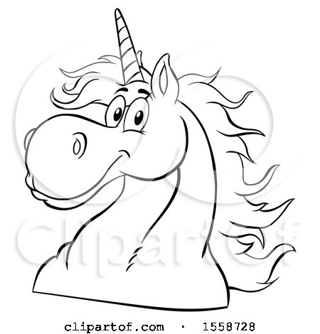 Clipart of a Black and White Unicorn Mascot - Royalty Free Vector Illustration by Hit Toon