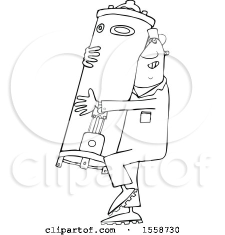 Clipart of a Cartoon Lineart Black Plumber Worker Man Carrying a Water Heater - Royalty Free Vector Illustration by djart