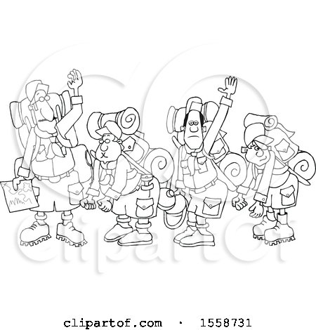 Clipart of a Lineart Boy Scout Troop and Leader Waving Goodbye Before Backpacking - Royalty Free Vector Illustration by djart