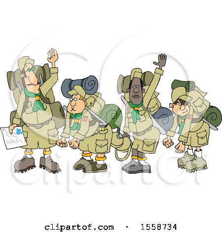 Clipart of a Boy Scout Troop and Leader Waving Goodbye Before Backpacking - Royalty Free Vector Illustration by djart