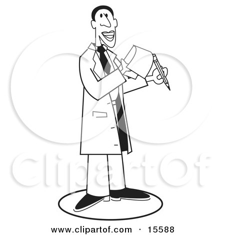 Male Doctor Holding A Pencil And A Notepad, Black Outline Over White Clipart Illustration by Andy Nortnik