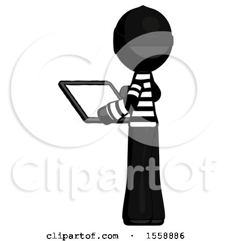 Black Thief Man Looking at Tablet Device Computer with Back to Viewer by Leo Blanchette