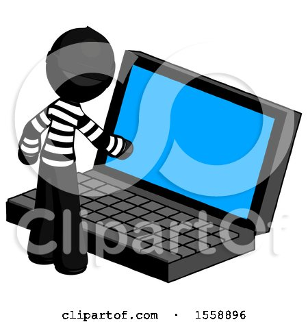 Black Thief Man Using Large Laptop Computer by Leo Blanchette