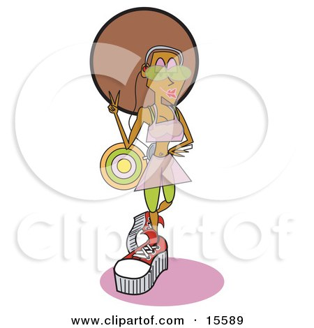 Cool African American Disco Girl Wearing Cool Clothes And Listening To Music While Gesturing A Peace Sign Posters, Art Prints