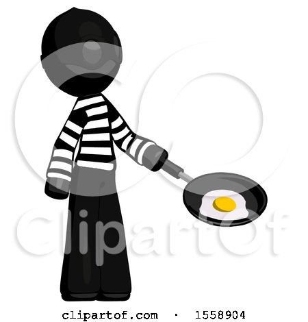 Black Thief Man Frying Egg in Pan or Wok Facing Right by Leo Blanchette