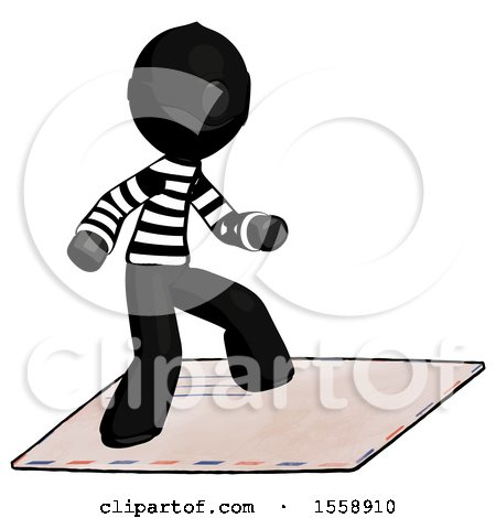 Black Thief Man on Postage Envelope Surfing by Leo Blanchette