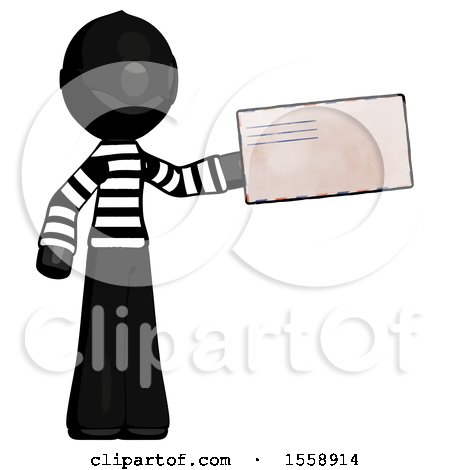 Black Thief Man Holding Large Envelope by Leo Blanchette
