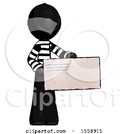 Black Thief Man Presenting Large Envelope by Leo Blanchette