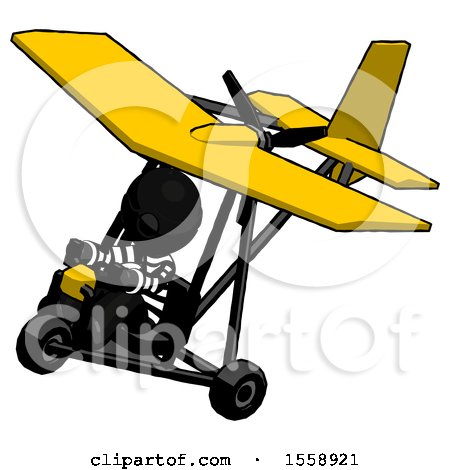 Black Thief Man in Ultralight Aircraft Top Side View by Leo Blanchette