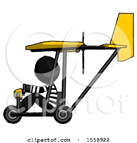 Black Thief Man in Ultralight Aircraft Side View by Leo Blanchette
