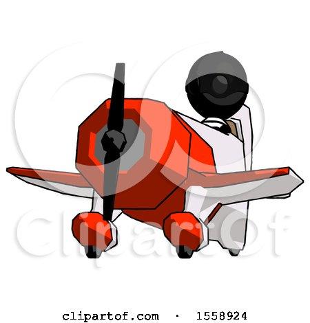 Black Thief Man Flying in Geebee Stunt Plane Viewed from Below by Leo Blanchette