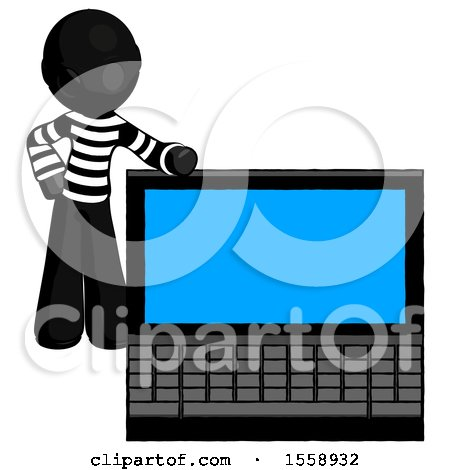 Black Thief Man Beside Large Laptop Computer, Leaning Against It by Leo Blanchette