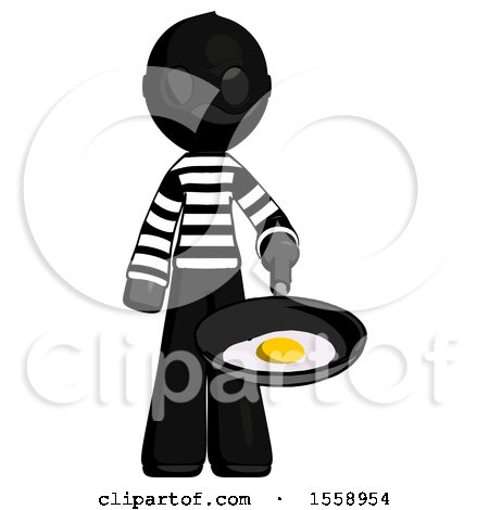 Black Thief Man Frying Egg in Pan or Wok by Leo Blanchette