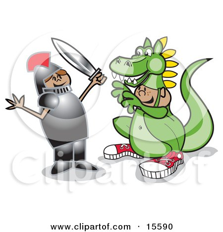 Friendly Girl In A Knights Armour, Holding A Sword And Playing A Drama With A Boy In A Dragon Suit Posters, Art Prints