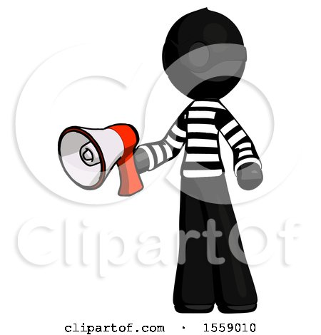 Black Thief Man Holding Megaphone Bullhorn Facing Right by Leo Blanchette
