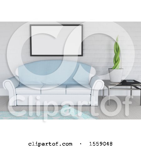 Clipart of a 3D Render of a Modern Lounge Interior with Blank Picture Hanging on Wall - Royalty Free Illustration by KJ Pargeter