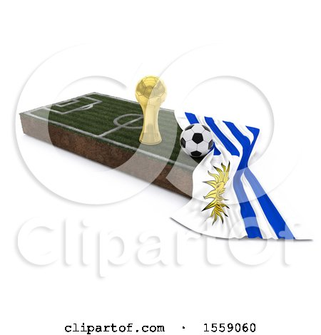 3d Soccer Ball, Trophy Cup, Flag and Pitch, on a Shaded Background Posters, Art Prints