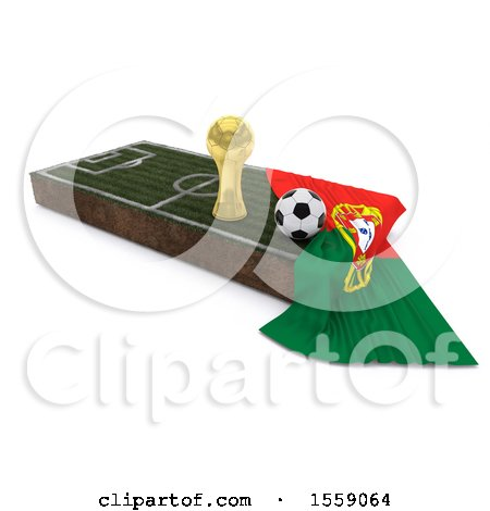 Clipart of a 3d Soccer Ball, Trophy Cup, Flag and Pitch, on a Shaded Background - Royalty Free Illustration by KJ Pargeter