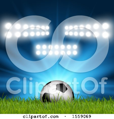 Clipart of a 3d Soccer Ball in Grass, with Stadium Lights - Royalty Free Vector Illustration by KJ Pargeter