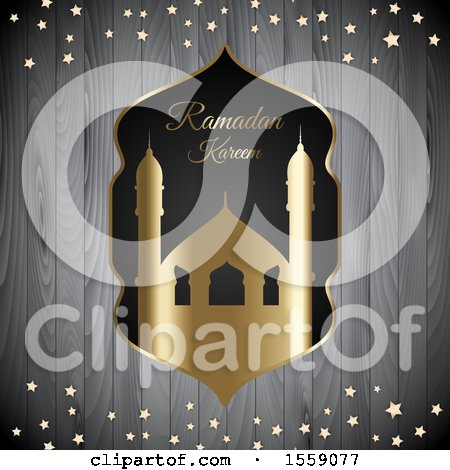 Clipart of a Ramadan Kareem and Mosque over Wood with Stars - Royalty Free Vector Illustration by KJ Pargeter