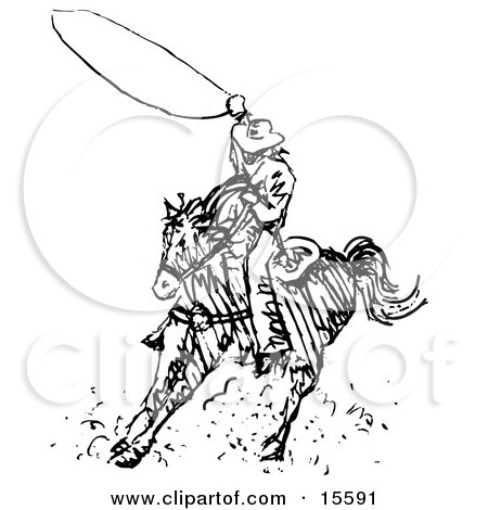 Black And White Outline Of A Cowboy Swirling A Lasso While Riding On Horseback Clipart Illustration
