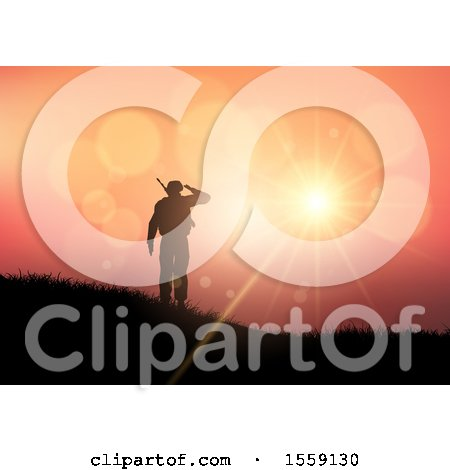 Clipart of a 3d Silhouetted Soldier Saluting Against a Sunset - Royalty Free Vector Illustration by KJ Pargeter