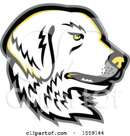 Clipart of a Retro Great Pyrenees Dog Mascot - Royalty Free Vector Illustration by patrimonio