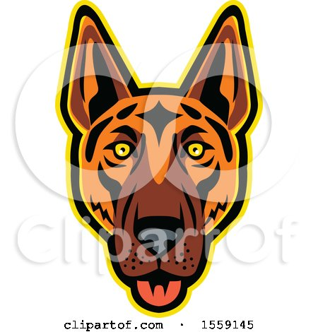 Clipart of a Retro German Shepherd Dog Mascot - Royalty Free Vector Illustration by patrimonio