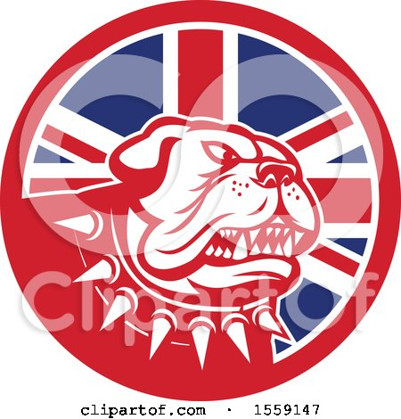 Clipart of a Retro Guard Bulldog with a Spiked Collar in a UK Flag Circle - Royalty Free Vector Illustration by patrimonio