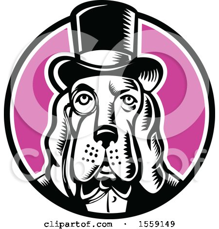 Clipart of a Retro Woodcut Basset Hound Dog Mascot Wearing a Monacle and Top Hat in a Circle - Royalty Free Vector Illustration by patrimonio