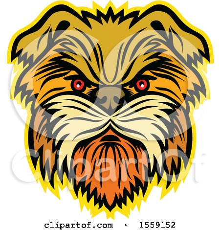 Clipart of a Retro Aggressive Affenpinscher Monkey Terrier Dog - Royalty Free Vector Illustration by patrimonio