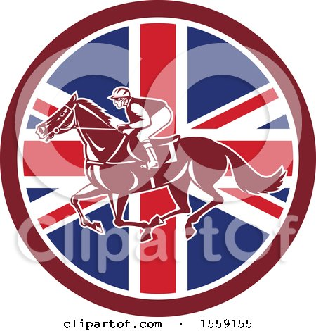 Retro Racing Jockey in a British Flag Circle Posters, Art Prints