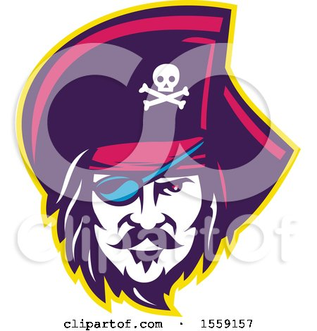 Clipart of a Retro Male Pirate Face with an Eye Patch - Royalty Free Vector Illustration by patrimonio