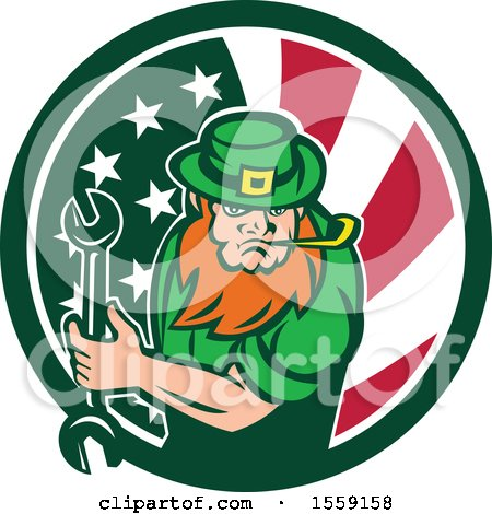 Clipart of a St Patricks Day Leprechaun Mechanic Holding a Wrench in an American Irish Flag Circle - Royalty Free Vector Illustration by patrimonio