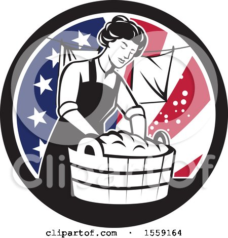 Retro Housewife Doing Laundry in an American Flag Circle Posters, Art Prints