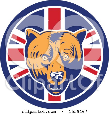 Clipart of a Retro Grizzly Bear Head in a Union Jack Flag Circle - Royalty Free Vector Illustration by patrimonio