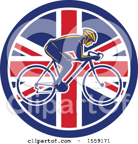 Retro Male Cyclist in a British Flag Circle Posters, Art Prints